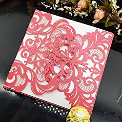 WOMHOPE 50 Pcs - Flower Hollow Laser Cut Lace Shimmer Wedding Invitation Party Invitations Cards Birthday Invitations Cards Wedding Favors (Red)