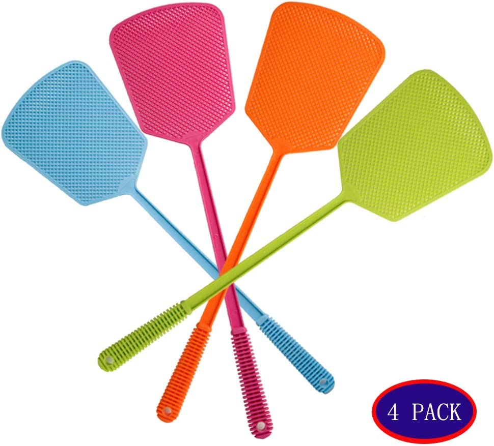 Assorted Colors,Long Range Handles,Indoor and Outdoor Racket for Bug,Bee,Spiders,Flies Lonnie Life Fly Swatter,4 Pack Fly Swatters Strong Flexible Manual Swat Set
