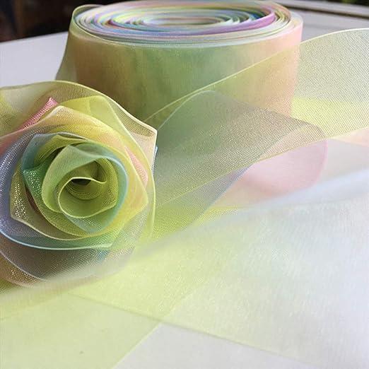 colori arcobaleno 1,5 cm Nastro in organza trasparente per confezioni regalo