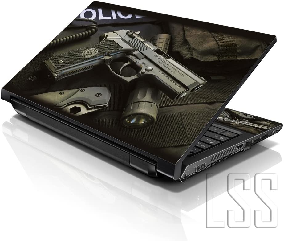 """LSS Laptop 15 15.6 Skin Cover with Colorful Police Gun Pattern for HP Dell Lenovo Apple Asus Acer Compaq - Fits 13.3"""" 14"""" 15.6"""" 16"""" (2 Wrist Pads Free)"""