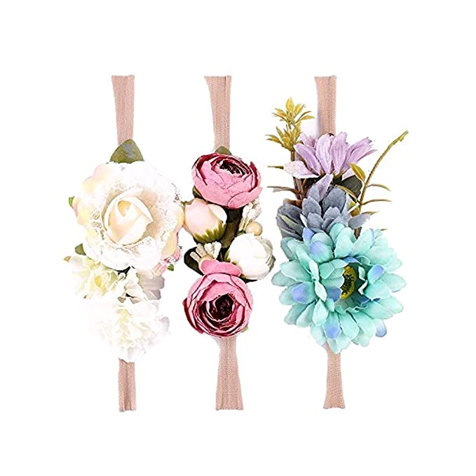 Ever Fairy Raffhalter Blumen Krone ELASTISCH Blumen Stirnband Baby Mädchen Blumenmuster Krone Kranz Neugeborenes Haarzubehör