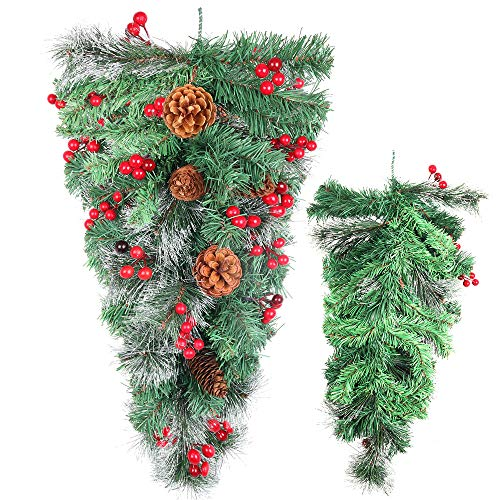 HiiARug Artificial Christmas Swag Mixed Pine Cones and Red Berries, Frosted Pine Branch 27.5 Inch Christmas Teardrop Swag Outdoor for Wall Hanging Front Door Decor (Swags Outdoor)