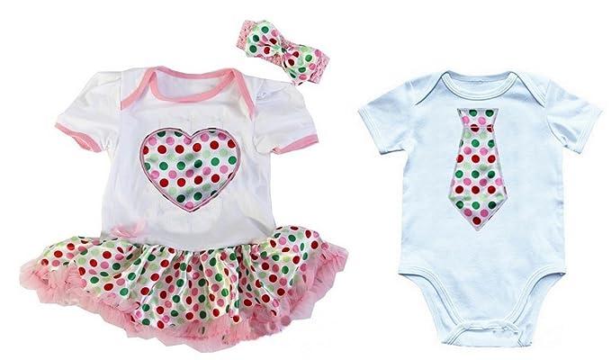 Kirei Sui Bebé niñas Pelele y Body de tutú de corazón colorido lunares niños corbata Gemelos Set - Blanco -: Amazon.es: Ropa y accesorios