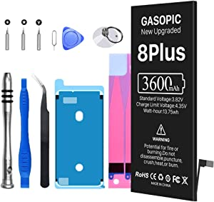 Battery for iPhone 8 Plus,3600mAh Upgraded 0 Cycle Ultra High Capacity Replacement Battery Kit for iPhone 8 Plus with Professional Repair Tools Kits, Instructions
