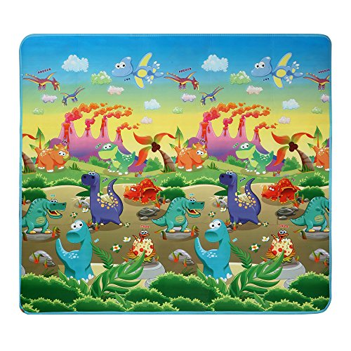 Moroly Baby Play Crawling Mat,Kids Toddlers Foam Floor Game Playmat Encourages Learning,Non-Toxic,Non-Slip,70.2x78x0.2inch (Dinosaur and car)