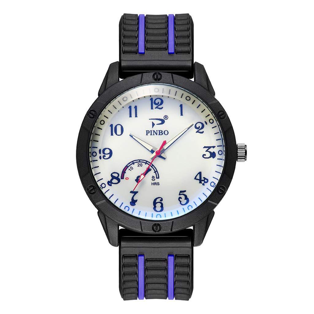 Mens Watches,Fxbar Unique Rubber Strap Analog Wrist Watch Fashion Youth Bracelet Watches Dress Watch(B)