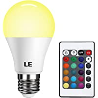 LE Dimmable A19 E26 LED Light Bulb, 6W RGBW LED Bulbs, 16 Colors, Remote Controller Included, LED Color Changing Light Bulb