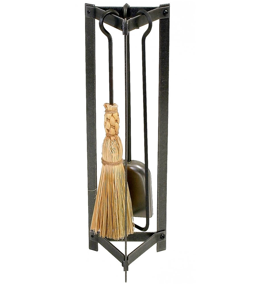 Enclume 3 Piece Country Home Fireplace Tool Set with Stand, Hammered Steel FPTS2 HS
