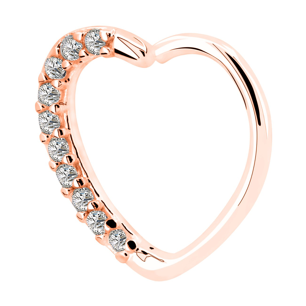 OUFER Body Piercing Jewelry Heart Sharped Right Closure Daith Cartilage Tragus Helix Earrings 16 Gauge (rose gold clear)