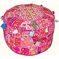 Indian Vintage Patchwork Ottoman Pouf , Indian Living Room Pouf, Foot Stool, Round Ottoman Cover Pouf, Floor Pillow Ottoman Poof,Traditional Indian Home Decor Cotton Cushion Ottoman Cover 13x18