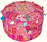 Indian Vintage Patchwork Ottoman Pouf , Indian