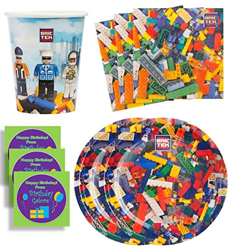 Bric Tek Birthday Party Supplies Set Plates Napkins Cups Kit for 8 Plus Stickers