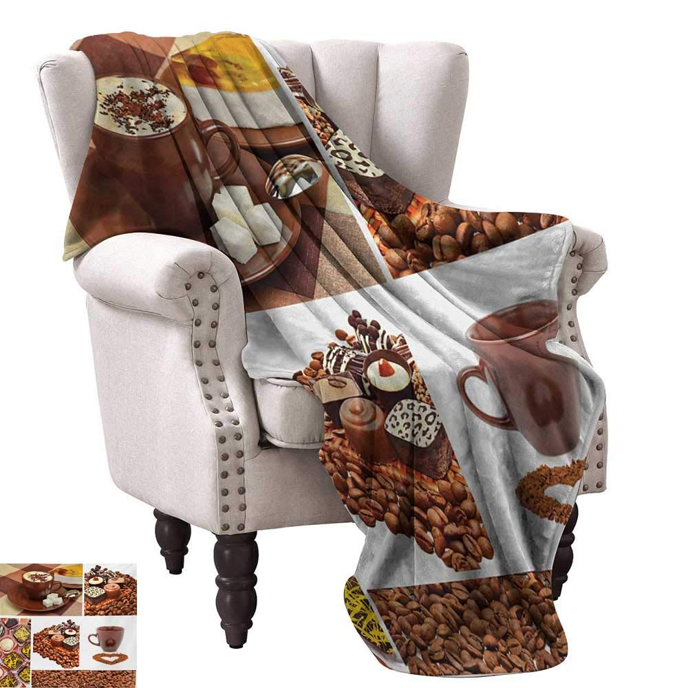 Anyangeight Weave Pattern Extra Long Blanket,Collection of Chocolate Sweets Muffins Coffee Beans and Mugs Cappuccino Pastries 50''x30'',Super Soft and Comfortable,Suitable for Sofas,Chairs,beds