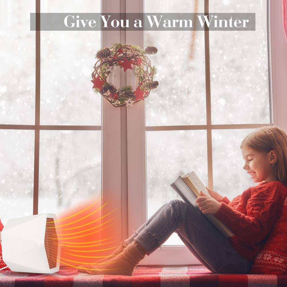 Thermostat Adjustable Temperature Hisome Indoor Personal Space Heater Fan Fast Heating Mini Desktop Electric Warmer for Home Office Kitchen Bedroom Electric Heater