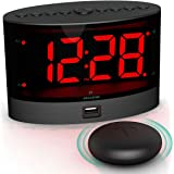 ANJANK Extra Loud Alarm Clock with Wireless Bed Shaker, Vibrating Dual Alarm Clock for Heavy Sleepers, Deaf and Hearing-impai