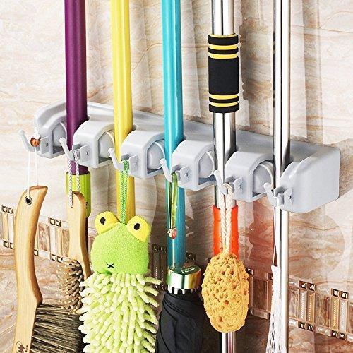 Mop And Broom Holder, HOMETEKE Broom Organizer, Garage Storage Systems  Broom Organizer With 5 Position 6 Hooks Garage Storage Holds Up To 11 Tools