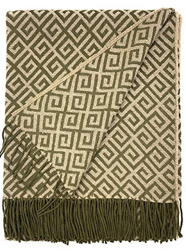 Geometric Greek Key Alpaca Throw Blanket | 100% Baby Alpaca Wool | 5.9 Feet Long X 4.25 Feet Wide | Hypoallergenic, Soft & Cozy (Olive/Jute)
