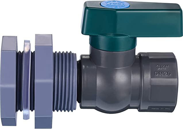 Mudder PVC Spigot Rain Barre Faucet Kit 3/4 Inch Rain Barrel Valve with Bulkhead Fitting Adapter for Water Tanks, Aquariums, Tubs, Pools (3/4 Inch, Grey with Green)