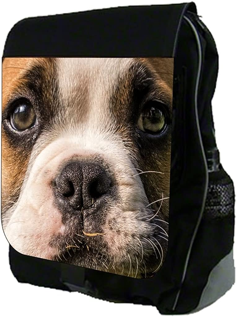 Bulldog Face Up-Close Print Design TM School Backpack