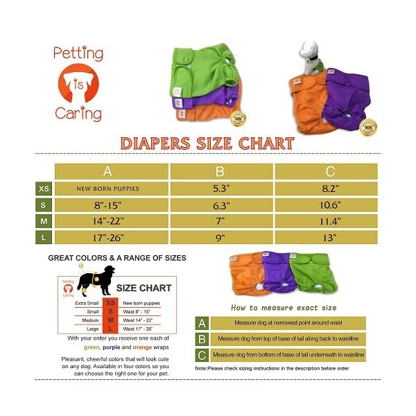 Dog Washable Diapers & Reusable by PETTING IS CARING – Female Dog Diapers Materials Durable Machine Washable Simple… Click on image for further info. 2