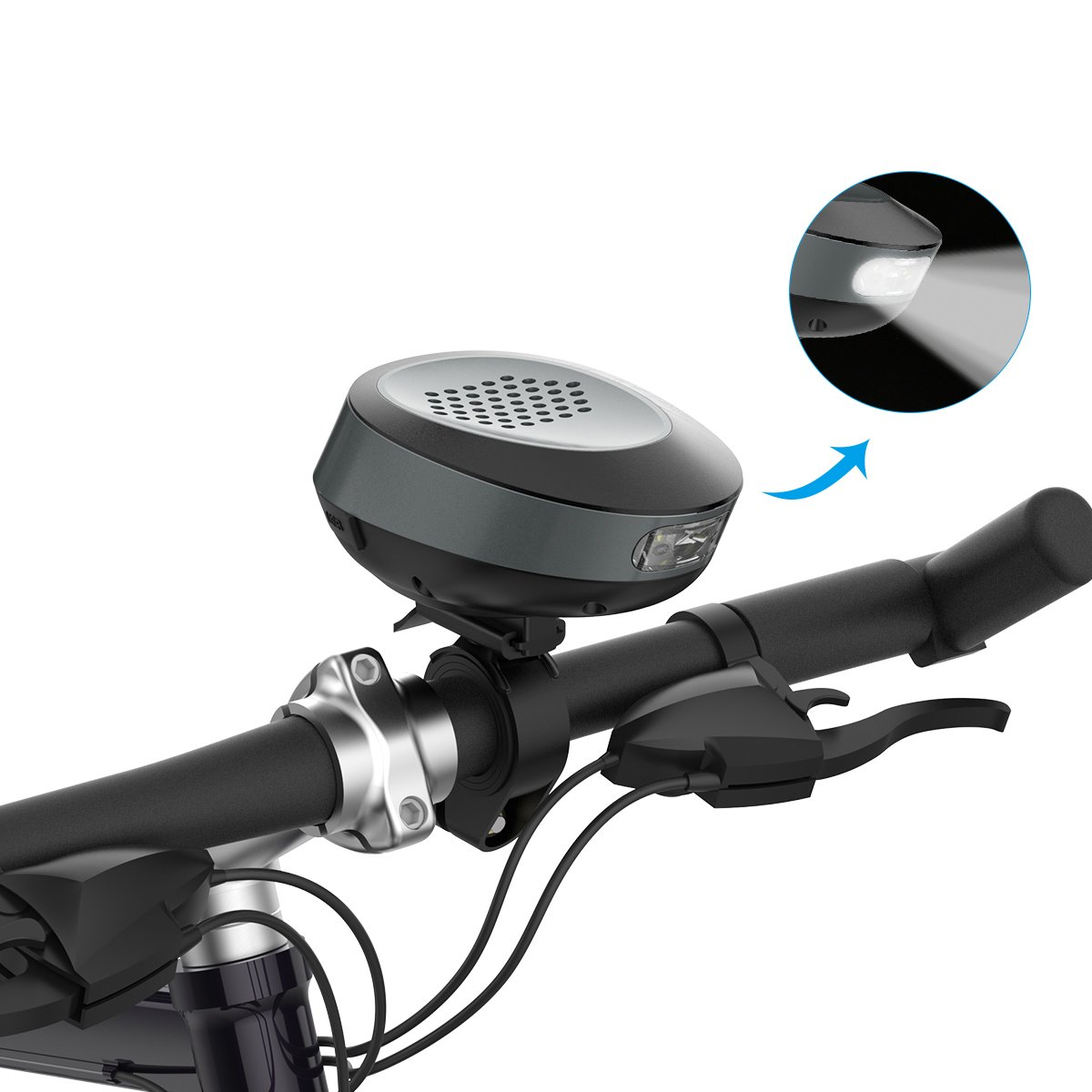 TOENNESEN BTS26 Bluetooth Bicycle Speaker Outdoor Sport Waterproof Portable Wireless Bike Speaker with LED Flashlight Hands-Free Call for iPods, Cell Phones, Android Devices and MP3 Players-Gray