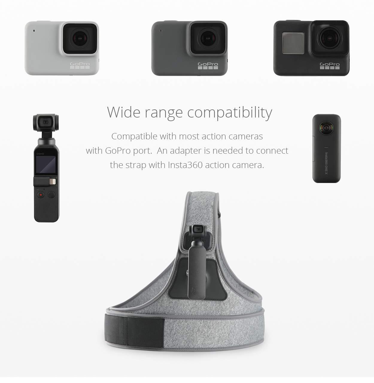 Osmo Action Cam/éra daction Insta360 Honbobo PGYTECH Sangle de Poitrine Harnais de Poitrine Ajustable Support de t/él/éphone pour DJI Osmo Pocket S/érie Gopro All