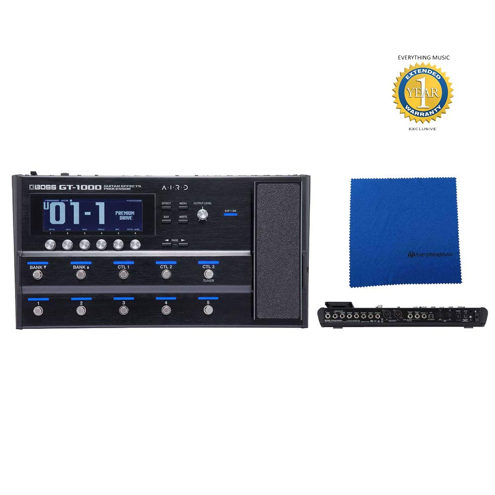 Boss GT-1000 Guitar Effects Processor with Microfiber and Free EverythingMusic 1 Year Extended Warranty