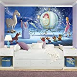 RoomMates JL1374M Disney Princess Cinderella Carriage XL Chair Rail Prepasted Mural 6' x 10.5' - Ultra-strippable
