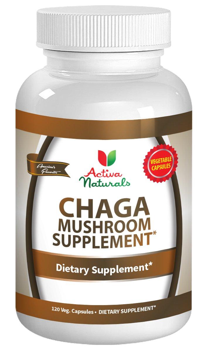 Activa Naturals Chaga Mushroom Supplement - 120 Veg. Capsules with Inonotus obliquus Mushrooms