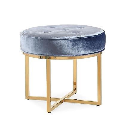 Gentil Tov Furniture The Layla Collection Modern Style Velvet Upholstered Round Living  Room Ottoman, Shimmery Blue