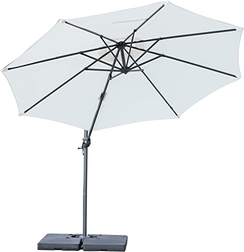 Outsunny 10 Hanging Tilt Offset Cantilever Patio Umbrella with Base Stand – Cream White