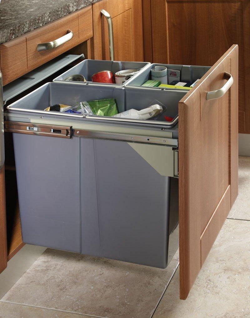 Cubo de basura y de reciclaje extraíbles con cierre suave, ideal para cocinas, 30cm baseMount 30L (10l + 10l + 10l) Stolmet