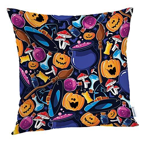 Batmerry Halloween Pillow Covers 18x18 inch, Bat Broom Candle Cartoon Cauldron Cheerful Cute Funny Hat Throw Pillows Covers Sofa Cushion Cover Pillowcase Home Gift -