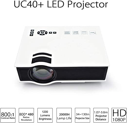 CWHALE Proyector de vídeo, Mini portátil LCD LED proyector 3D Home ...
