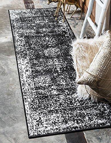 Unique Loom Sofia Collection Black 2 x 7 Runner Area Rug (2' x 6' 7