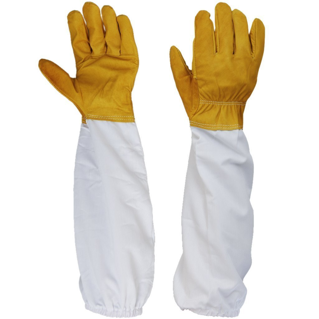 Lhoxvmew 1 Pair Beekeeping Protective Gloves w/ Vented Long Sleeves 4.33 Width--Yellow