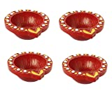 Set of 4 Handmade Decorative Clay Oil Lamps