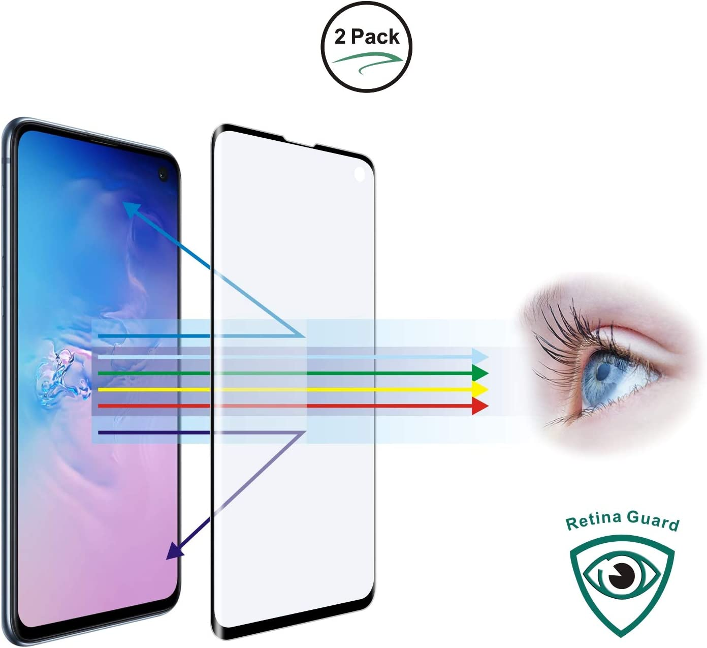 "Entwth 3D Curved Full Coverage Anti Blue Light Screen Tempered Glass Protector[2 Packs] for Samsung Galaxy S10 6.1""[Eye Care] Blocks Excessive Harmful Blue Light & UV Anti Glare 9H Anti-Scratches"