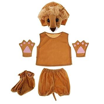 MagiDeal Traje de Disfraz de León Niños Cautivador Lindo Suave Gorra Camisa Pantalones Guantes Cosplay Imaginación Creativa