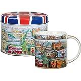 James Sadler -Taza de porcelana fina con diseño Londres en lata