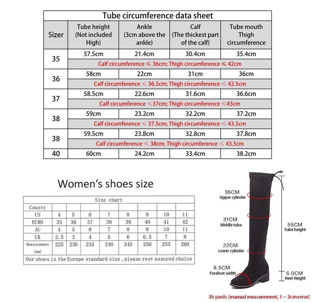 YALANDA Botas Sobre Sobre Sobre La Rodilla para Mujer, para Mujer, Muslo, Botín, Tacón Alto para Botas De Invierno, con Cordón Negro,Thin,38 073a1c