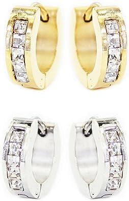 Pack de 2 pares de cuadrados de cristal transparente gemas de oro pulido de acero inoxidable