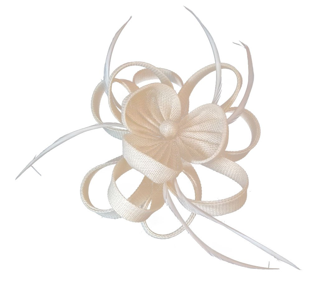 Ahugehome Fascinator Headband Hairclip Flower Feather Netting Mesh Cocktail Hat Party (JA Beige)