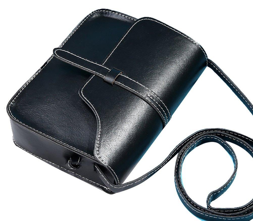 QZUnique Women's Soft PU Leather Fashion Vintage Style Cross Body Shoulder Bag Black by QZUnique (Image #1)