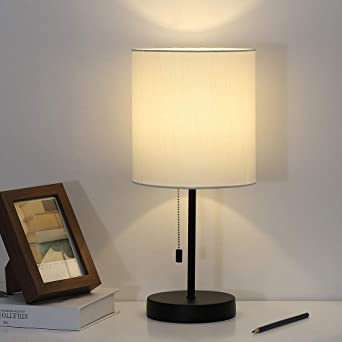 Nightstand Lamp Contemporary Bedside Table Lamp Black Metal Base