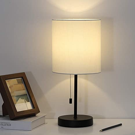 Nightstand Lamp Contemporary Bedside Table Lamp Black Metal Base Desk Lamp With Fabric Shade