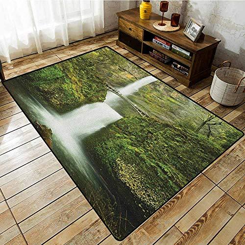 Rectangular Rug,Hobbits,Falls of Rivendell Multnomah Waterfall Oregon with Hobbit Elf Path Bridge Scene Image,All Season Universal Green