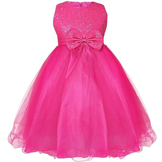 FEESHOW Niña Con Lentejuelas Vestido Flor Princesa Sin Mangas Formal Boda Fiesta Rosa Oscuro 13-