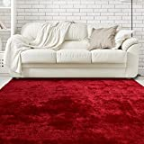 iCustomRug Super Silky Red Shag Rug 8ft0in x 10ft0in (8' x 10')
