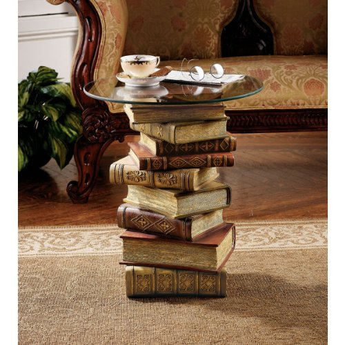 Round Bonded Glass Top Table - Design Toscano Power of Books Vintage Decor Stacked Books End Table with Glass Top, 21 Inch, Polyresin, Full Color